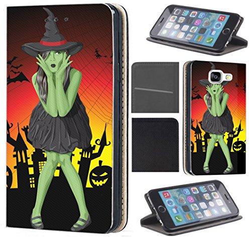 lle für Samsung Galaxy A7 2018 Flip Cover Schutzhülle Kunstleder Flip Case Motiv (1611 grüne Hexe mit Hut Halloween) ()