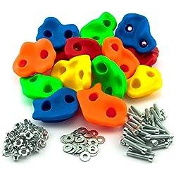 GO!elements 15 Prises d'escalade Enfant avec matériel de Fixation, Poignées d'escalade pour Mur d'escalade, Pierres d'escalade colorés pour Tour de Jeu avec vis, intérieur et extérieur, Size:15 Set