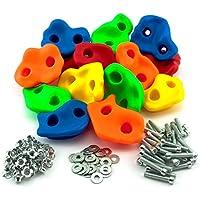 GO!elements 15 presas de Escalada Kids Set Outdoor Incl. Material de fijación | Piedras de Escalada para Paredes | Piedras de Colores para Torres de Juegos para niños con Tornillos, Size:15 Set