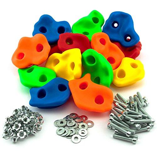 GO!elements 15 Stück Klettergriffe Kinder Set Outdoor inkl. Befestigungsmaterial | Indoor Klettersteine für Kletterwand | Kids Bouldersteine bunt für Spielturm mit Schrauben, Größe:15 Set (Kletterwand Griffe)