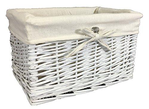 The Pescara Collection Profonde Panier doublé Petite Taille 1 Blanc Peint en Osier avec Doublure Amovible - Rangement