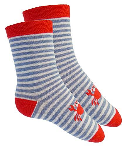 EveryKid Ewers Babysocken Jungensocken Markensocken Socken Strümpfe Söckchen ganzjährig kleine Krabbe Ringel für Babys (EW-205113-S19-BJ0-1766-23/26) in Koralle, Größe 23/26 inkl Fashionguide