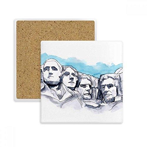 American Rushmore National Memorial quadratisch Untersetzer Cup Becher Halter saugfähig Stein für Getränke 2Geschenk (Perfekte Gedenkstätten)