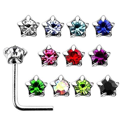 20 Stück-Box-Set der Mischung, die farbigen Sterne Crystal Stein gesetzt Top 22 Gauge 925 Sterling Silber L Form Nase Stud