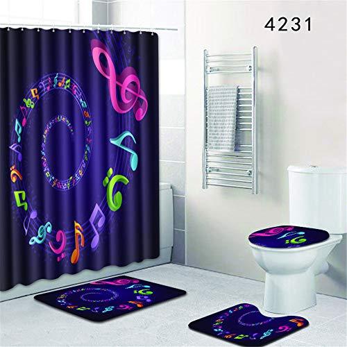 LWPCP Duschvorhang + Türmatte + WC-Abdeckung + Fußkissen 4-Teiliges Set Badezimmer-Baddekoration HD-Druck Rutschfest Feuchtigkeitsfest,1,45 * 75CM