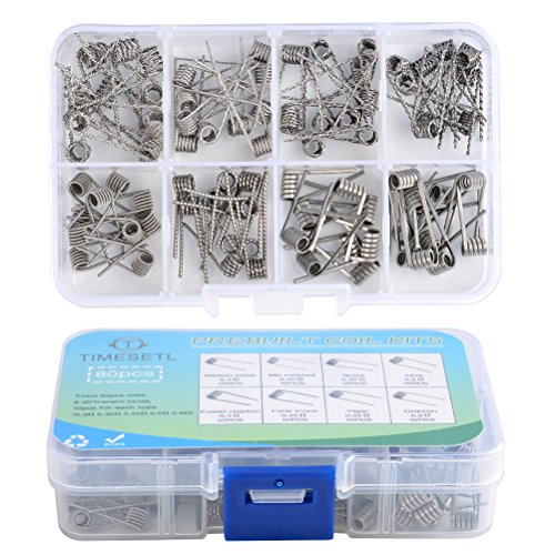 TIMESETL 80Stück Fertigcoil Widerstandsdraht Coil Set - 8-in-1 Vorkompilierte Coil Kit mit 0.3Ω / 0.35Ω/ 0.45Ω / 0.5Ω / 0.8Ω für RDA, RBA, RDTA, 80 Pcs, Fused Clapton Coil, Twisted, Hive, Quad, Tiger
