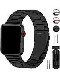 Fullmosa Acero Inoxidable Correa Compatible Apple Watch/iWatch Serie 3, Serie 2, Serie 1, Apple Watch Correa 38mm 42mm, Negro 42mm