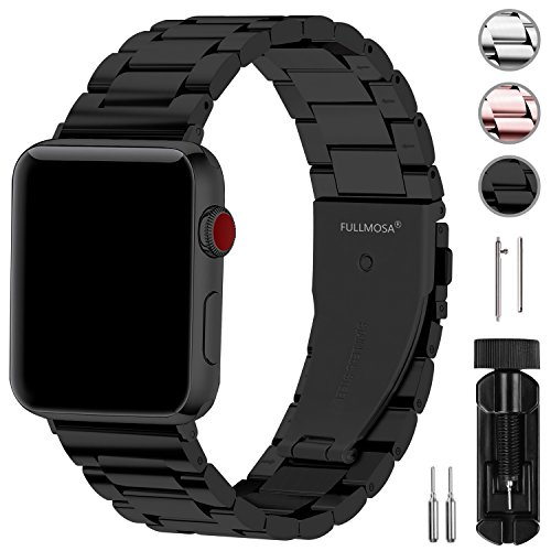 Fullmosa Kompatibel Apple Watch Armband 42mm(44mm Series 4), Rostfreier Edelstahl Watch Ersatzband für iWatch/Apple Watch Serie 4 Serie 3 Serie 2 Serie 1,42mm Schwarz
