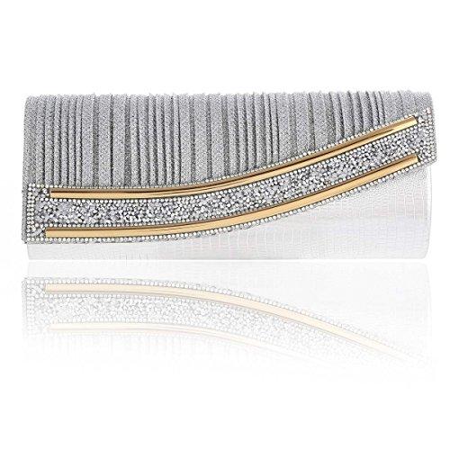 Damara® Damen Blinken Strass Einfarbig Abendtasche Mit Faltenwurf Silber