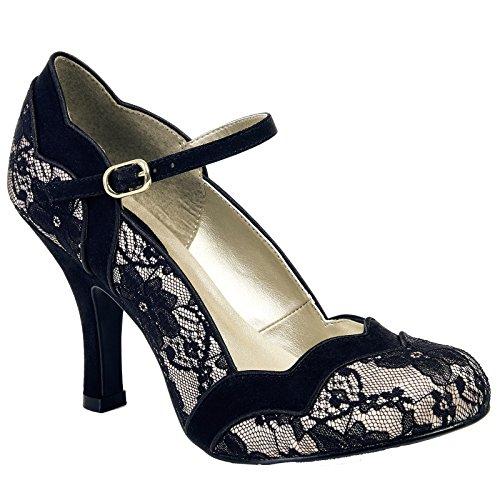 Ruby Shoo IMOGEN Vintage LACE Spitzen Riemchen Pin Up Heels PUMPS Rockabilly (38) (Vintage-heels Lace)