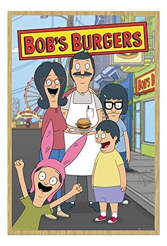 Bob Burgers Famiglia Poster Faggio Con cornice & Stainato Opaco Laminato - 96.5 x 66 cms (Approx 38 x 26 pollici)