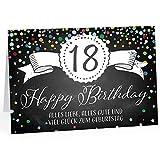 Große Glückwunschkarte XXL (A4) zum 18. Geburtstag - Tafel-Look Konfetti/mit Umschlag/Edle Design Klappkarte/Glückwunsch/Happy Birthday Geburtstagskarte/Extra Groß/Edle Maxi Gruß-Karte