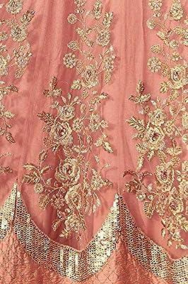 FIORI DESIGN Women's Faux Georgette Anarkali Gown (Peach, Free Size)