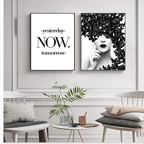 XWArtpic Nordic Zitat Poster Schwarz Weiß Schmetterling Frau Wandkunst Leinwand Wandbilder Moderne Gemälde 30 * 40 cm