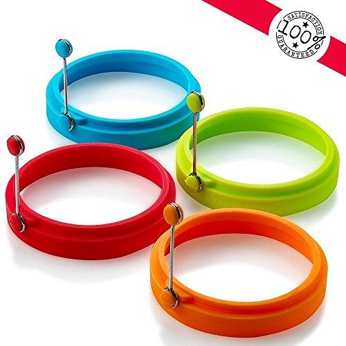 New Egg Ring, Silikon-Ei-Ringe Antihaft, Ei Kochen Ringe, perfekte Spiegelei Mold oder Pfannkuchen Ringe (4pcs) Patty Mold