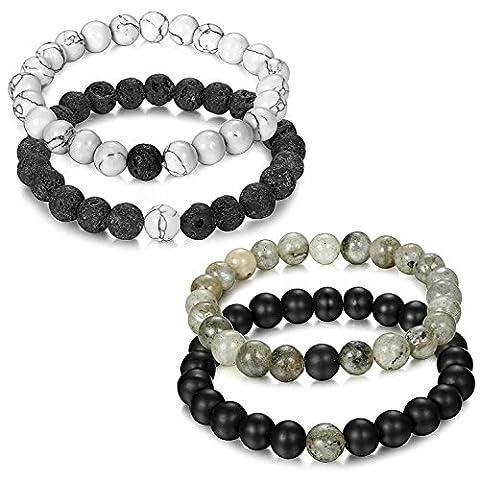 Jstyle Bijoux 4 Pcs(2 paires) Bracelet Couples Perle Naturelle Perles