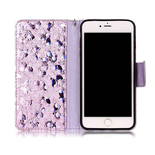"MOONCASE iPhone 8 Plus/iPhone 7 Plus Flip Cover, [Butterfly Pattern] Leder Handyhülle Built-in Ständer TPU Stoßfest Schutz-tasche Case für iPhone 7 Plus/iPhone 8 Plus 5.5"" Schwarz Lavendel"