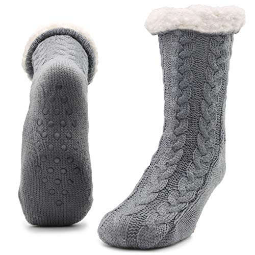 Slipper Fluffy Socks for Women Men Heat Holding Sock Knitted Socks Wool Sherpa Fuzzy Bed Slippers Size 5-8 Non Slip