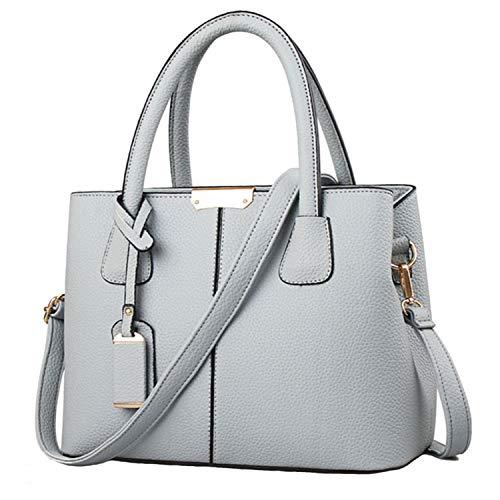 Design Satchel Handtasche (FiveloveTwo Dame Classy Satchel Handtasche Tote Handtasche Griff Tasche Umhängetasche Grau)