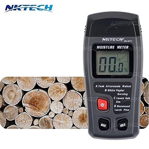 Nktech Nk-wt1Digital écran LCD portable 0–99,9% Bois Bois humidité humidité Mètre Integral d'arrêt automatique testeur de détecteur de sonde à 2broches