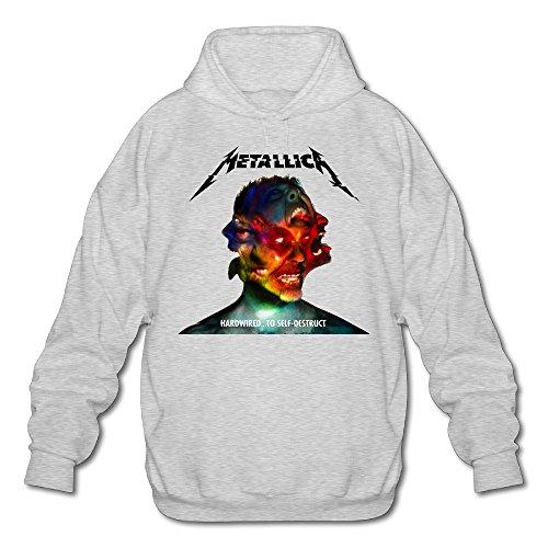 minloo L Uomo Metallica saldato a autodistruggersi Felpa con cappuccio Ash Ash Small