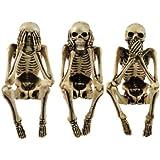 3 figurines décoratives pour étagères Squelettes assis