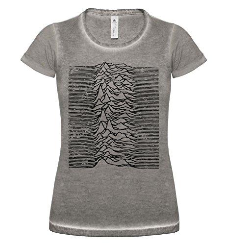 LaMAGLIERIA T-Shirt Donna Vintage Look Joy Division Japan D COD. Grpr0085 - Maglietta DNM Plug in Effetto Vintage con Stampa Rock Grey Clash