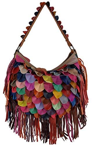 Lammfell Leder Hobo Handtaschen (Yaluxe Damen weich Lammfell Leder bunt Hobo Handtasche Crossbody Schultertasche)