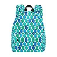 FANTAZIO Abstract Cyan Diamond Pattern backpack anti theft Daypack