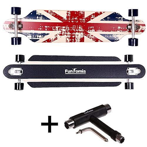 FunTomia® Longboard Skateboard Drop Through Cruiser Komplettboard mit Mach1® ABEC-11 High Speed Kugellager T-Tool mit und ohne LED Rollen (Modell Freerider Ahornholz - Farbe England)