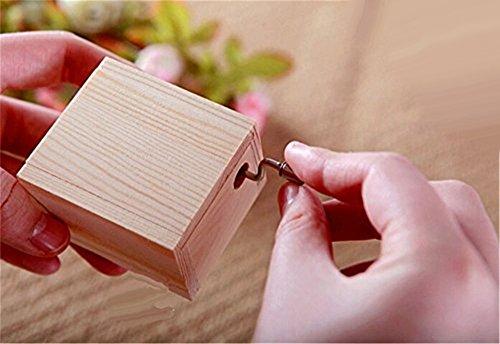 Cuzit Handkurbel mit Vintage-Uhrwerk Holz-Box mit Musik Happy Birthday-Geschenk für Mädchen Kinder Damen