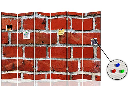Feeby Biombo con Corcho Muro Ladrillos 6 Paneles Bilateral Abstracto Rojo 216x175 cm