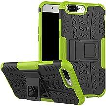 Para OnePlus 5 Funda, Sunrive® Fuerte Híbrido de Doble Capa Cubierta Resistente con la Función de Soporte Choque Absorción Funda Gel Carcasa Case Bumper(verde) + 1 x Lápiz óptico