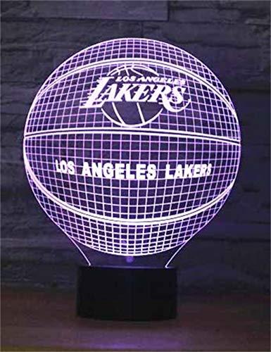 Lakers Basketball Team 3D Nachtlicht/LED dekorative Lichter, 7 Farben, Skulptur beleuchtet Dekoration, schwarze Basis, Touch/Fernbedienung, Desktop Schlafzimmer Dekoration
