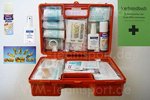 Erste-Hilfe-Koffer KITA M1 incl. Sprüh-Pflaster & Hände-Antisept-Spray nach DIN/EN 13157 für Betriebe + DIN/EN 13164 für KFZ - incl. Verbandbuch & Wundreinigung
