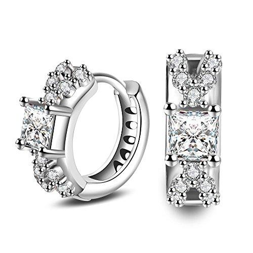 Skyllc Männer und Frauen Künstliche Schmuck Ohrringe Runde Schnitt Diamant Ohrstecker (Runden Ohrringe Diamanten Männer)