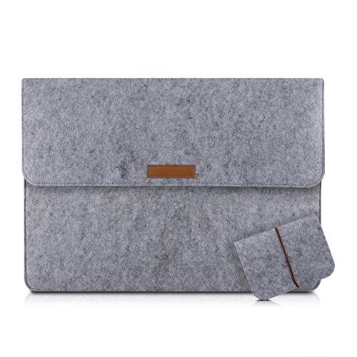 """kwmobile Laptoptasche Filz Sleeve für 17"""" 17,3"""" Laptop - Notebook Tasche Schutzhülle Laptop Case Hülle in Grau mit Innentaschen Innenmaße: ca. 47,0 x 34,0 cm"""