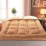 GJFLife Verdicken sie Lamm-samt Tatami Matratzenauflage Futon, Zusammenklappbar Schlafsaal Matratze Protector Abdeckung Warme Bett-matten Schlafen pad-C 150x200x10cm