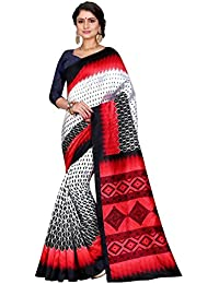 Sugathari Sarees Women's White And Red Mysore Bhagalpuri Art Silk Saree (Bhagalpuri Sarees 60 White Red)
