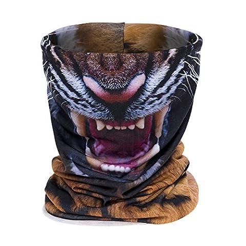 Aiyuda 3D Alles über Print Bandana Kopfbedeckung Multifunktionstücher Stirnbänder Radsport Motorradrennen Dünn Halbe Gesichtsmaske Skifahren (Beanie Halb Helm)