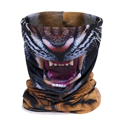 Aiyuda 3D Alles über Print Bandana Kopfbedeckung Multifunktionstücher Stirnbänder Radsport Motorradrennen Dünn Halbe Gesichtsmaske Skifahren (Tiger) (Kopf Rohr Hals Und Angeln)
