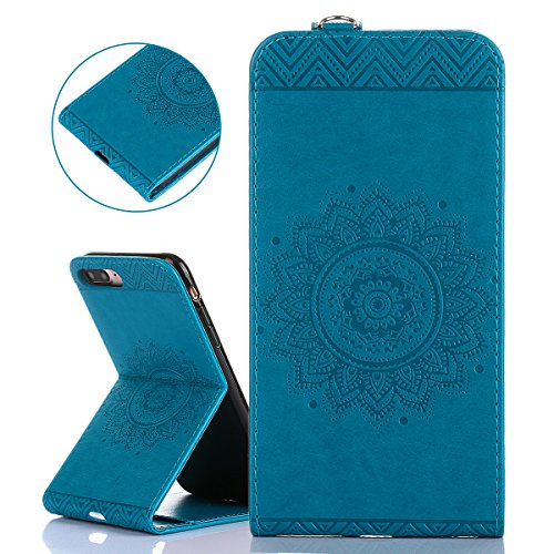 Hülle für iPhone 7 Plus, Tasche für iPhone 7 Plus, Case Cover für iPhone 7 Plus, ISAKEN Blume Schmetterling Muster PU Leder Flip Cover Case Ledertasche Handyhülle Tasche Case Etui Schutzhülle Hülle mi Dessin Blume Blau