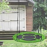 Qulista Nestschaukel rund 100Ø Kinder Familien Outdoor Garten Schaukel Belastbar bis 100 kg Tellerschaukel Haltbarkeit Swing Kit (Grün)