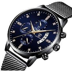 Reloj,Relojes Hombre Moda Lujo Negocios Cronógrafo Multifunción Calendario Impermeable Reloj de Cuarzo Analógico con Correa de Malla Negro Azul