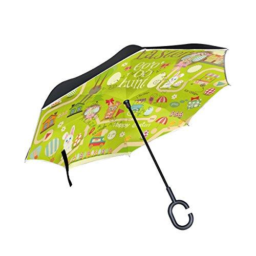seitenverkehrt Regenschirm Cars Rückseite Regenschirm Ostereiersuche Happy Cute Bunny Winddicht UV Proof Reisen Outdoor Regenschirm ()