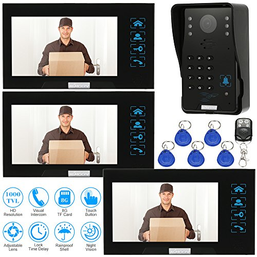 KKmoon Wired Video Doorbell 7 Inches Video Door Entry System with Key 1 Camera & 3 Monitor+3*8G TF Card + 5*ID Card + 1*Remote Control Intercom Doorbell Record/Snapshot ID Card/Code/Remote Unlock