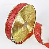 Sylvialuca 200X5 cm Schöne Metallic Glitter Bänder Für DIY Handwerk Nähen Stoff Weihnachten Party Hochzeit Liefert Geschenk Wrap - Rot