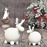 Valery Madelyn Spumante Tema Invernale in Porcellana Cervo Renna Scultura Altezza 14/10 cm Standing REH Figurine Set di 2 Bianco Oro Decorazione Tavolo Cervo Deco Figurine per Decorazioni Natalizie