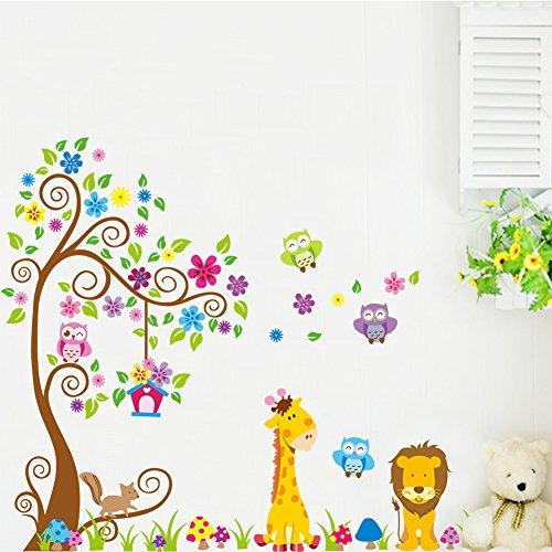 Graz design sticker mural xXL, décoration pour chambre d'enfant motif animaux de la forêt, lion et arbre