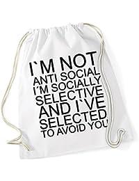 I Am Not Anti Social Borsa De Gym Bianco Certified Freak 151dbd3e23e